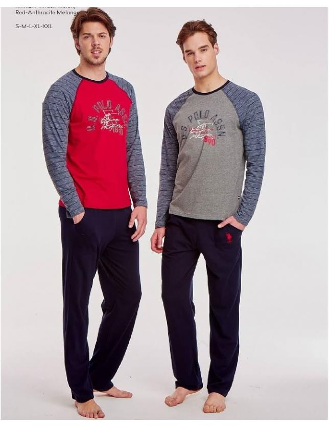 US Polo 17508 Erkek Yuvarlak Yaka Pijama Takım