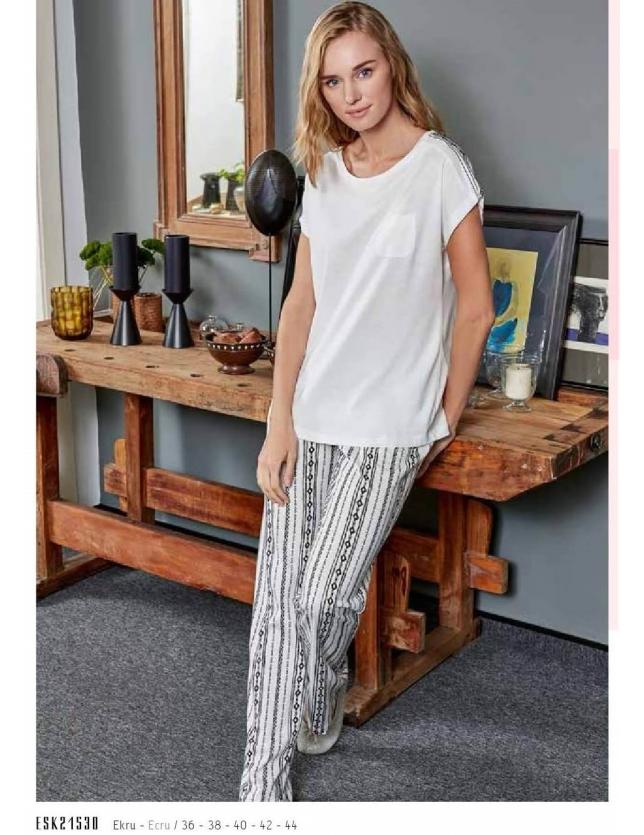 Eros ESK 21530 Yuvarlak Yaka Bayan Pijama Takım
